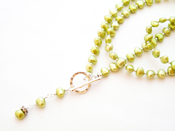 Lime green freshwater pearl double strand necklace