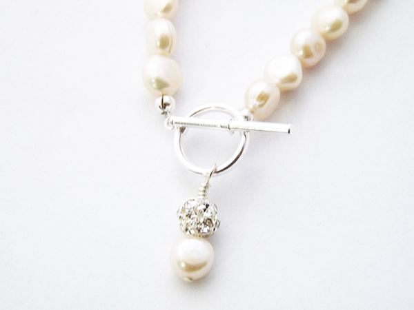 Freshwater Pearl necklace with a pearl and crystal chatons drop