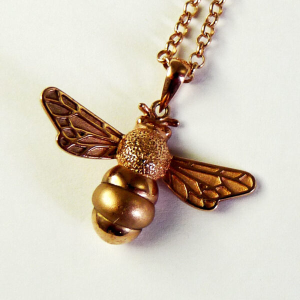 rose gold bumble bee necklace