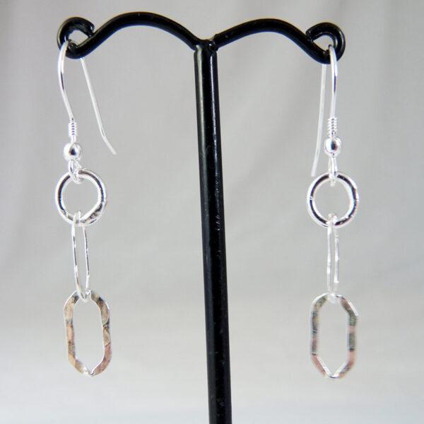 sterling silver flat oval earrings