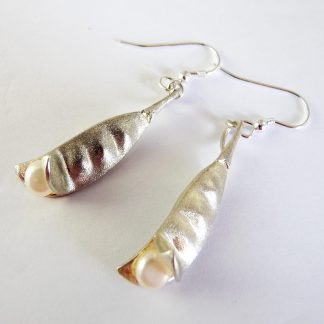 Sterling Silver Pea Pod Earrings