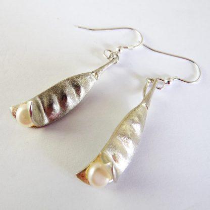 Sterling Silver Pea Pod Earrings